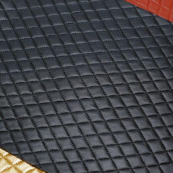 画像1: 合皮 生地 ダイヤ柄 黒色(ブラック) ダイヤ柄レザー 黒色(ブラック) - 合皮.j