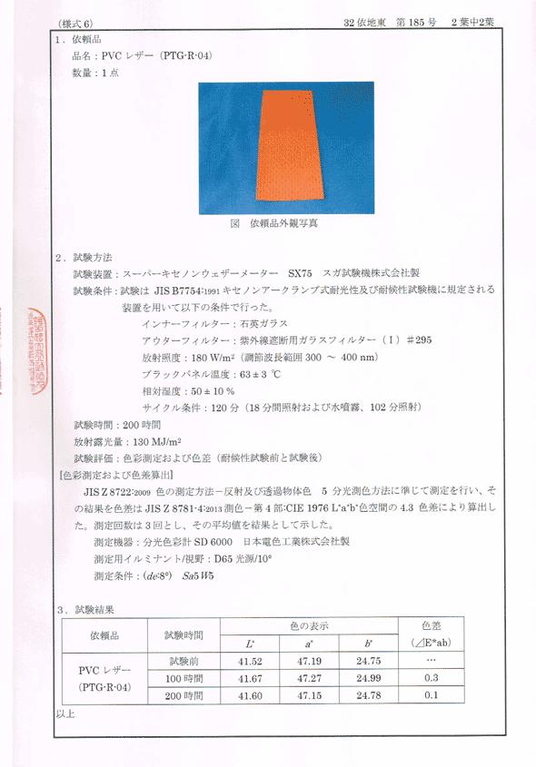 パンチングレザー赤色の耐候性試験成績書